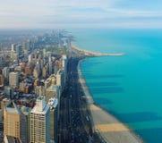 Город Чикаго и озеро Мичиган, Чикаго, Иллинойс, США Стоковые Изображения RF