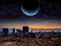 Город чужеземца на восходе солнца или заходе солнца Стоковое фото RF