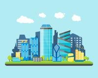Город шаржа будущий на предпосылке ландшафта вектор Стоковая Фотография RF