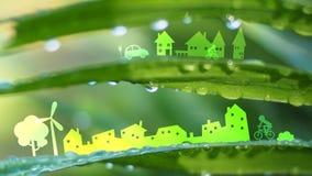 Город экологичности в свежей предпосылке природы Стоковые Фото