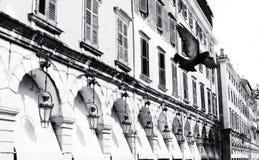 город corfu bw Стоковые Изображения RF