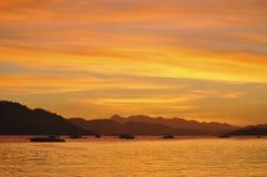 Город Coron захода солнца Стоковое Фото
