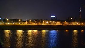 Город Daugavpils на ноче видеоматериал