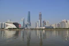 Город Guanghzou и Pearl River (Река Zhujiang) Стоковые Изображения RF