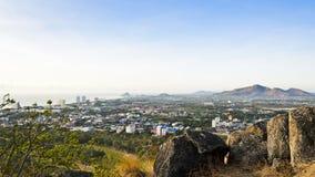 Город Hua Hin ландшафта в утре Стоковое Фото