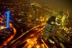 город istanbul моста bosphorus освещает взгляд ночи Стоковое фото RF