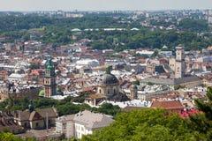 Город Lvov от высоты стоковое фото rf