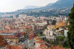 Город Menton на Cote d'Azur, Франции Стоковые Фотографии RF