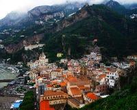 Город Positano в Италии Стоковое Фото