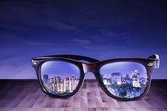 Город Refect на Sunglass Стоковое Изображение RF