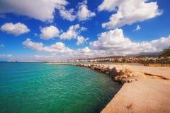 Город Rethymno как увидено от старой венецианской гавани, острова Крита Стоковая Фотография RF