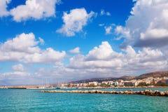 Город Rethymno как увидено от старой венецианской гавани, острова Крита Стоковые Фотографии RF
