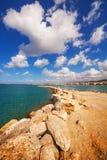 Город Rethymno как увидено от старой венецианской гавани, острова Крита Стоковая Фотография