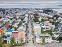 Город Reykjavik от верхней части Стоковое Изображение
