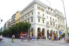 Город Thessaloniki цепи велосипеда Стоковая Фотография RF
