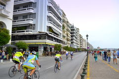 Город Thessaloniki цепи велосипеда Стоковое Изображение