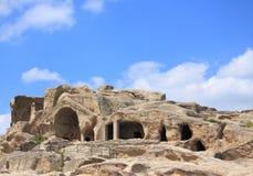 Город Uplistsihe пещеры старый языческий стоковые изображения