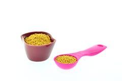 Горчичные зерна в чашке и измеряя ложке Стоковая Фотография RF
