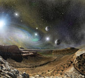 Горы ландшафта и космос космоса Стоковые Фотографии RF