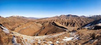 Горы атласа покрытые с снегом, Марокко Стоковая Фотография RF