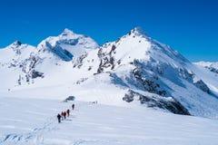 Горы Альпов в зиме Стоковые Изображения