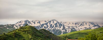 Горы вполне зеленой травы и деревьев и за ими, горами вполне снега с тяжелыми облаками над ими Панорамный взгляд, banne Стоковое Фото