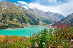 Горы в Алма-Ате, Казахстан эффектного сценарного большого озера Алма-Ата, Тянь-Шань Стоковые Изображения RF