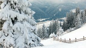 Горы в зиме Сельское pezazh покрытые валы снежка счастливое Новый Год сток-видео