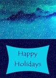 Горы в проиллюстрированной снегом поздравительной открытке Стоковое Изображение