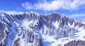 Горы в снежке Стоковая Фотография