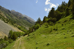 Горы в ущелье Galuyan, Кыргызстане Стоковое Фото