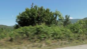 Горы в Georgia - взгляде через автомобиль окна видеоматериал