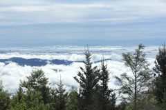Горы голубого Риджа в облаках на дуя утесе Стоковая Фотография