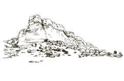 Горы делают эскиз к белому стилю гравировки Крыма утеса, руке нарисованная иллюстрация вектора Стоковая Фотография RF