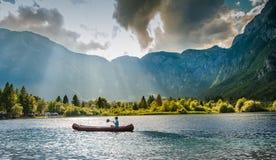 Горы Джулиан Альпы Словении озера Bohinj стоковое изображение