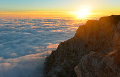 Горы захода солнца Стоковое Изображение