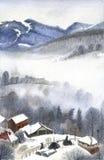 Горы зимы, ландшафт акварели Стоковая Фотография