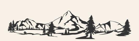 Горы Изолированный силуэт горной цепи Иллюстрация горы бесплатная иллюстрация