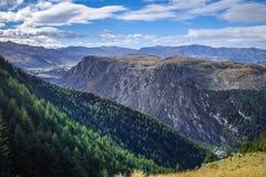 Горы и лес вокруг озера Wakatipu, Новой Зеландии стоковые изображения