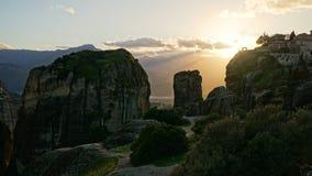 Горы и монастырь Meteora в Греции Стоковое Изображение RF