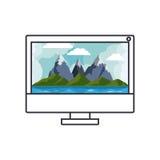 Горы и море внутри дизайна компьютера Стоковые Фото