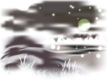 Горы и озеро на залитой лунным светом ноче Стоковая Фотография RF
