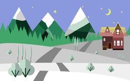 Горы и снег, природа, плоская иллюстрация Стоковые Фотографии RF