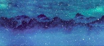 Горы и сосны в снежностях проиллюстрировали зиму Стоковое Изображение RF
