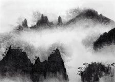 Горы и туман иллюстрация вектора