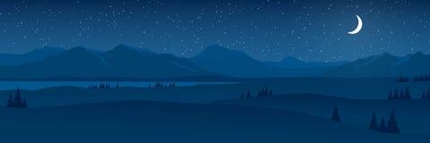 Горы и холмы благоустраивают вечером плоскую панораму дизайна иллюстрация вектора