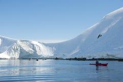 Горы и kayaker снежка стоковое изображение rf