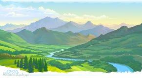 Горы, луга, зеленый ландшафт и река голубой вектор неба радуги изображения облака иллюстрация штока