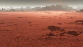 Горы Марса, взгляд от долины после пыльной бури видеоматериал