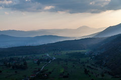 Горы над заходом солнца Черногория Стоковая Фотография